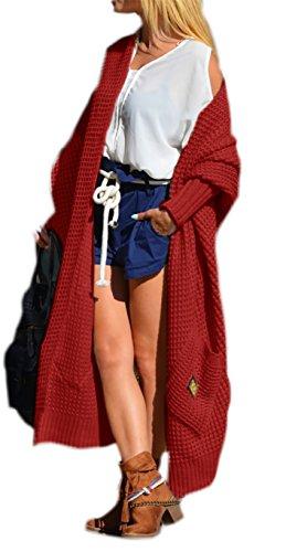 Damen Strickjacke Pullover Cardigan Langarm Oversize NEU 36 38 40 S M L (658) (Weinrot)