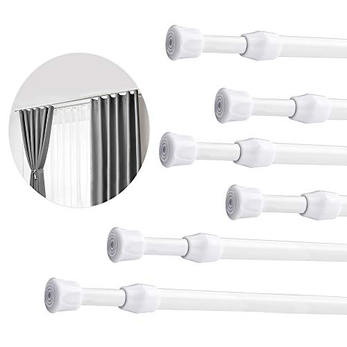 6Pcs Tension Rod Tension Curtain Rods for Windows 28 to 48 inch Adjustable Spring Curtain Rod Small Tension Rod White Expandable Pressure Curtain Rods Shower Curtain Rod Tension