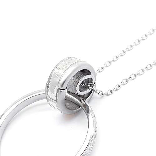 [アライブ]メンズ 指輪ホルダーネックレス サージカルステンレス製 ローマ数字 金属アレルギー 安心 対応 ペンダント レディースシルバー40cm