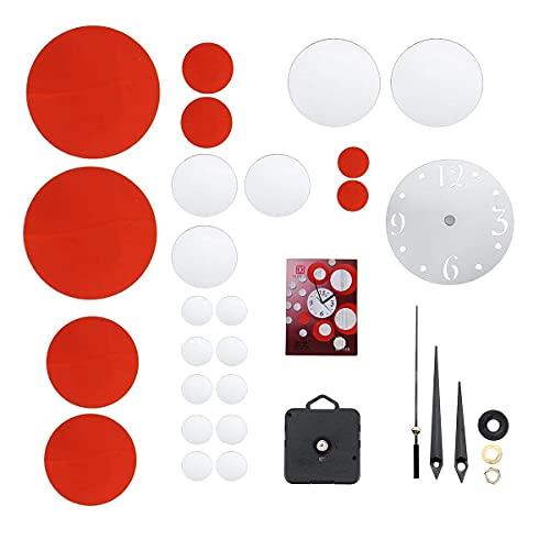 Decoraciones Modernas Art Deco Modernas, Pegatinas Creativas de acrílico para Relojes de Pared, números Grandes únicos (Color: Plata + Rojo) (Color: Plata + Rojo)