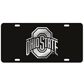 Craftique Ohio State Black Laser Cut License Plate - Mirror Logo