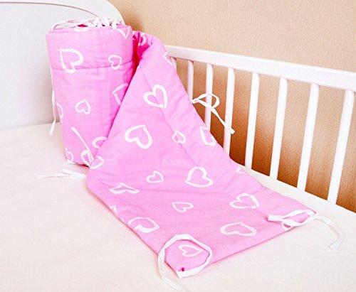 Bettumrandung Nest Kopfschutz Nestchen 420x30cm, 360x30cm, 180x30 cm Bettnestchen Baby Kantenschutz Bettausstattung Herzen Rosa (180x30)