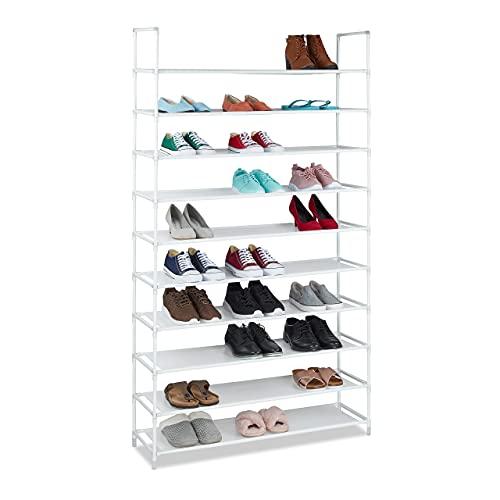Relaxdays Tela, 5 x 100 x 29 cm, para 50 Pares de Zapatos, 10 Niveles, Sistema de Ranuras, Zapatero XXL, Color Blanco, Acero aleado, 175,5x100x29 cm