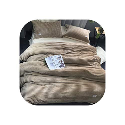 Winter Warm Soft Comfortable Double Sided Velvet Coral Fleece Mink Cashmere Bedding 4pcs Hot Duvet Cover Set Lotus Leaf Sides,as picture2,200cm Bed