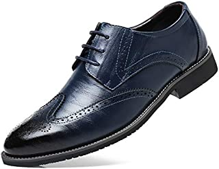 LUKEEXIN Men Oxford Genuine Leather Dress Shoes Brogue Lace Up Flats Male Casual Shoes Black Brown Size 38-48