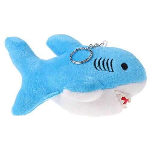 Exing Plüschtier Haifisch Stofftier Kuscheltier Sorgenfresser Schlüsselanhänger,Plüsch,15X14X10cm (Blau)