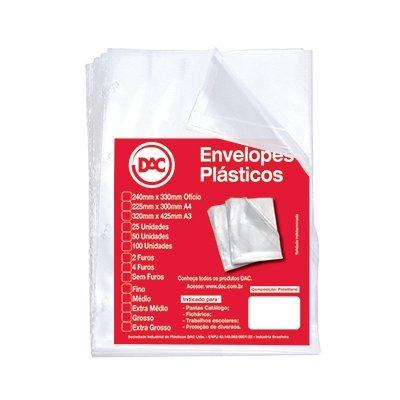 Blister 50 Envelopes 1/2 Oficio 2 Furos, DAC, Blister 50 Envelopes 1/2 Oficio 2 Furos 5192-50, Transparente, 5192-50