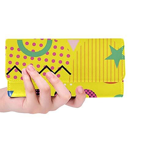 JOCHUAN Einzigartige Benutzerdefinierte Banner Party Stil Achtziger Jahre Trendy Geometrische Frauen Trifold Brieftasche Lange Geldbörse Kreditkarteninhaber Fall Handtasche