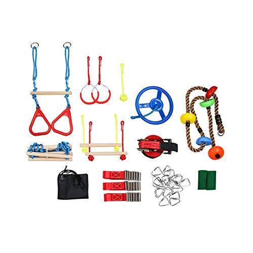 Kit de Carrera de Obstáculos Ninja Warrior para Niños, Equipo de Entrenamiento de Escalada, Incluye Escalera de Cincha, Anillos de Gimnasia y Disco Pequeño para Columpio de árbol etc