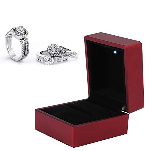Caja de anillo con iluminación LED interna, caja de anillo Joyero con pendiente cuadrado con luz LED para bodas de compromiso