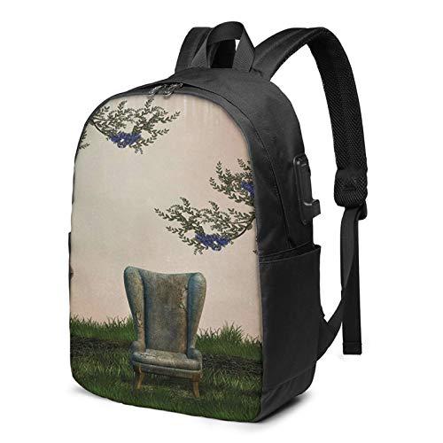 Laptop Rucksack Business Rucksack für 17 Zoll Laptop, Sofa Sessel Schulrucksack Mit USB Port für Arbeit Wandern Reisen Camping, für Herren Damen