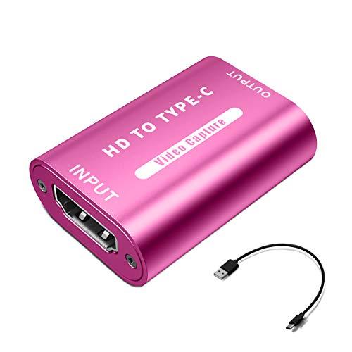 HDMI-zu-USB 2.0-Videoaufnahmekarte (Rose), 1080P 30fps-Ausgabe, Aufnahme über DSLR-Camcorder oder Action-Kamera, kompatibel mit der meisten Erfassungssoftware VLC OBS Amcap Potplayer usw
