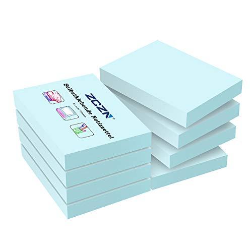 ZCZN Haftnotizen Sticky Notes Selbstklebende Haftnotizzettel Klebezettel 8 Blöcke x 100 Blatt, 51 x 76 mm, Hellblau