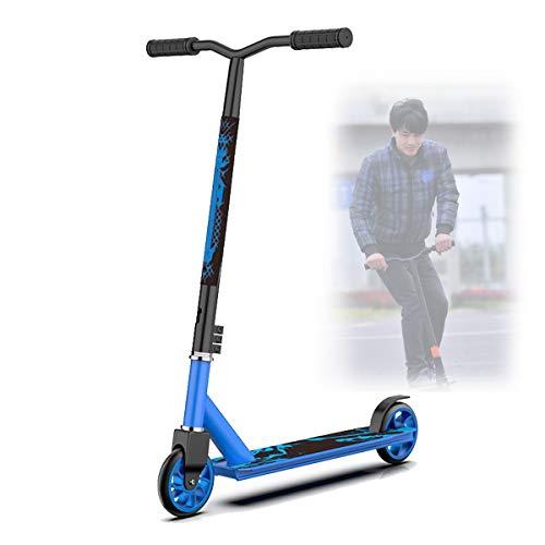 Scooters Escolares,Dos Ruedas Scooters Competitivos para NiñOs Adolescentes,Scooters de Pedales Extremos con Cool Stunts/OperacióN FáCil,Blue Aluminum Wheel Core
