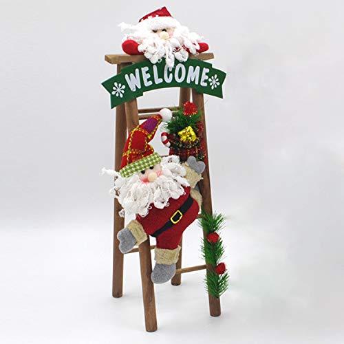 WXX Hecho a Mano Decoraciones navideñas Tela Arte Felpa Santa Escalera Escena Decoración de la Ventana, Tamaño: 50 x 14 cm