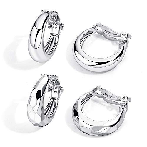 Milacolato 2 Pairs Clip Earrings for Women Fashion Clip on Earrings Geometric Chunky Hoop Earrings Non Pierced Clip On Earrings Jewelry, Gold Silver