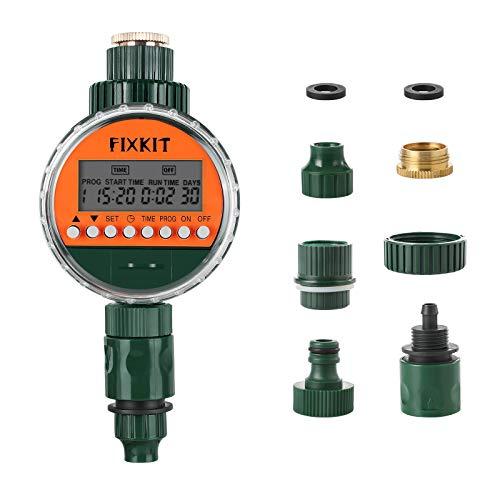 FIXKIT Bewässerungsuhr, eingebautes Magnetventil, LCD-Display, wasserdichte Schutzabdeckung IP68, Bewässerungsprogramm bis zu 30 Tagen, sehr gut geeignet zum Gießen von Blumen, Rasenbewässerung usw