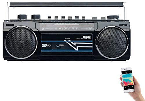 auvisio Retro Kassettenrecorder: Retro-Boombox mit Kassetten-Player, Radio, USB, SD & Bluetooth, 8 Watt (Ghettoblaster Retro)