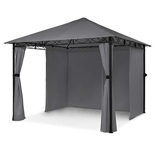 blumfeldt Mondo - Gartenpavillon Partyzelt Gartenzelt Gazebo, Größe: 2,95 x 2,6 x 2,95 m (BxHxT), 4 Seitenteile, EasyMount Concept, Witterungsschutz: UV/Wind/Regen, dunkelgrau