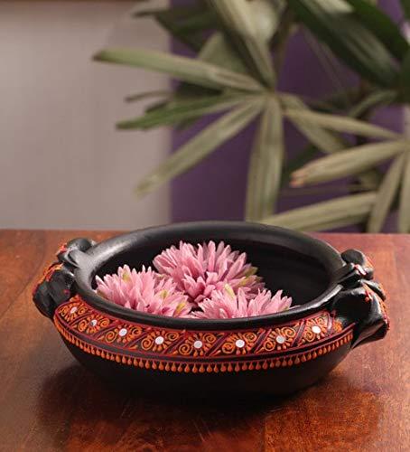 Shabana Art Potteries Handmade Decorative Bowl Pot/Uruli/Urli Potpourri- Black (Dia - 6 inch)