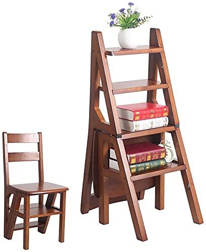 YZH Escalera ligera y portátil de 4 pasos de madera maciza, escalera plegable para el hogar, escalera, escalera, taburete multifunción creativo, doble uso (color: 3 #)
