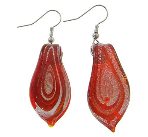 Pendientes de murano, hoja, rojo, 17x53x5 mm, hechos a mano