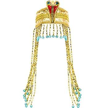 Women s Egyptian Headband Snake Beaded Headpiece Women s Egyptian Costume Accessory Beaded Headdress  Gold