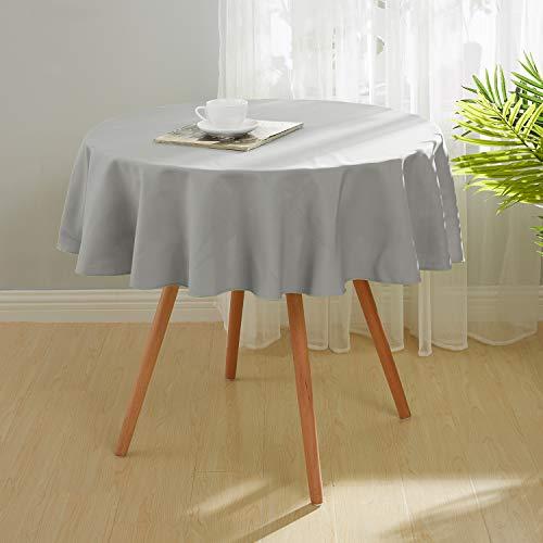 Deconovo Tafelkleden Rond Vlekbestendig Waterdicht Voor Tafel in Grijs Oxford-stof 140cm