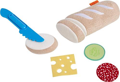 HABA 305046 - Baguette, Zubehör für Kaufladen und Kinderküche, 1 Baguette mit 2 Scheiben zum Abschneiden, Kleinkindspielzeug ab 3 Jahren