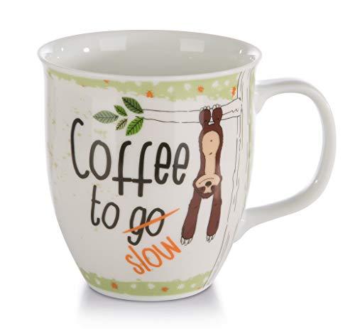 Nici 42554 porseleinen mok Faultier Coffee to Slow, 9,5 x 10 cm, wit met kleurrijke opdruk, inhoud 400 ml (gevuld tot ca. 1 cm onder de rand).