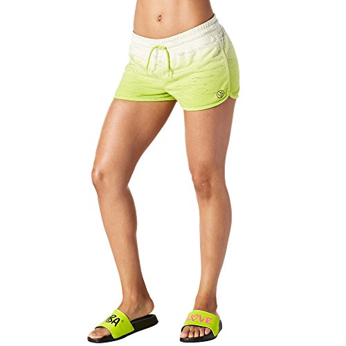 Zumba Fitness When The Sun Goes Down French Terry Pantalones Cortos Bottoms, Todo el año, Mujer, Color Zumba Green, tamaño Extra-Large