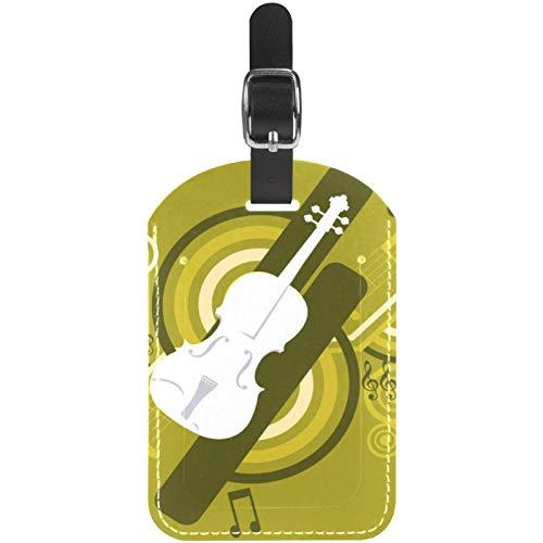 Etiquetas de equipaje para guitarra, música, cuero, para maleta de viaje, 1 paquete