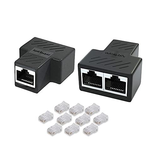 Lan Splitter, Lan Splitter 1 Auf 2 Lan Kabel Splitter Ethernet Splitter Lan Verteiler, Netzwerk Splitter 1 auf 2, Lan Switch 2port, Network Splitter -(2 Splitter +10 Rj45 Stecker)
