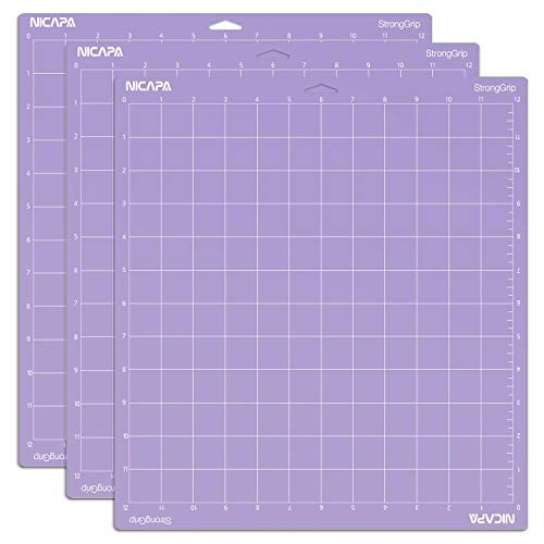 Nicapa StrongGrip Cutting Mat for Cricut Explore Air 2/Maker (12x12 inch,3 Mats) Strong Adhesive Sticky Purple Quilting Cricket Cut Mats Replacement Accessories for Cricut