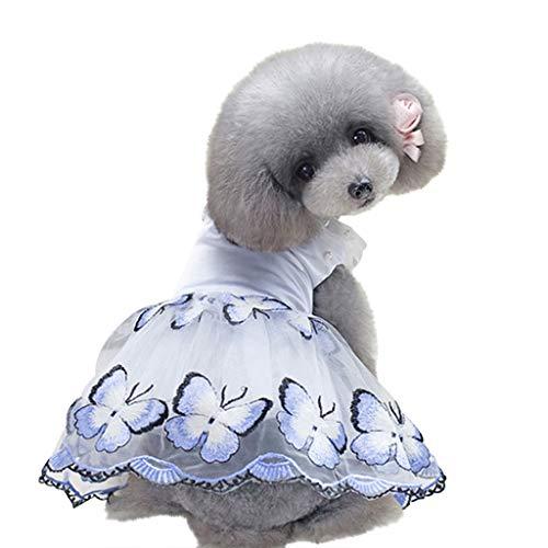 Xmiral Tutu Abiti per Cani di Piccola Taglia Cane Vestito tutù Gonna Fiore Dog Pet Cat Lusso Principessa Abito da Sposa Estate Cane Chihuahua Vestiti M Blu