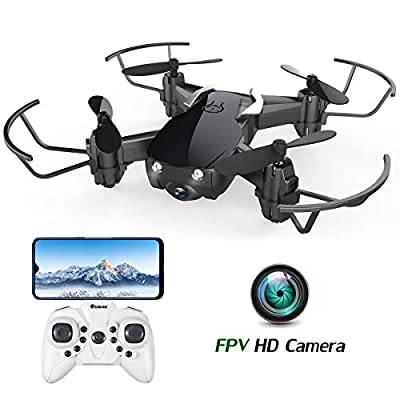 EACHINE E61HW Mini Drone with Camera Indoor Outdoor for Adults WiFi APP FPV Real Time Share Altitude Hold One Key Return 3D Flips Propellers Safety Guard RC Toys Gift Drone(Black)
