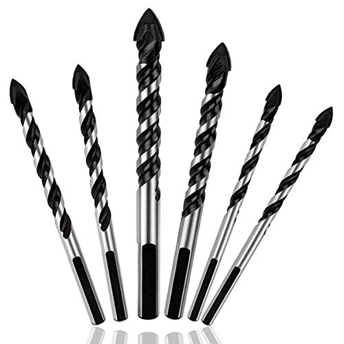 BAIJIAXIUSHANG-TIES Metalworking 6PCS Ceramic Tile Drill Bits Masonry Drill Bits Set for Glass, Brick, Concrete, Wood Tungsten Carbide Tip for Wall Mirror Drill