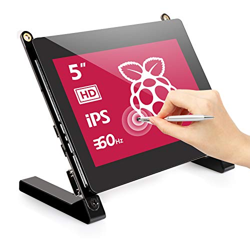 EVICIV 5 Zoll Touchscreen Portable Raspberry Pi Monitor - IPS 800X480 Display Bildschirm 16:9 mit HDMI Port Eingebaute Lautsprecher Display für Raspberry Pi 4 3 B+ Own Project