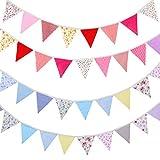 Xiangmall 2 Piezas Guirnalda Banderines Tela Vintage Multicolor Bandera Banderín Boda Baby Shower Fiesta de Cumpleaños Decoración de Jardín Actividad Exterior (2 piezas)