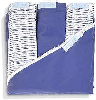QuickZip Crib Sheet Set - Faster, Safer, Easier Baby Crib Sheets - Includes Navy Wraparound Base & 3 Zip-On Sheets - 2 Navy Shibori Cotton, 1 Navy Cotton - Fits All Standard Crib Mattresses