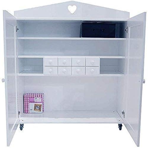 lounge-zone Kinderkaufsmannsladen - Schrank auf Rollen Kaufmannsladen für Kinder Heart rollbar Weiß8 Schubladen viele F er aus Holz  11997