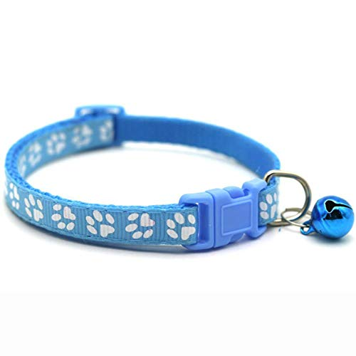 BSDIHRIWEJFHSIE 1Pc Pet Toy Training Called Dinner Small Bell Footprint Ring Cat Toys for Pet Call Pet Products Cat Interactive Treat Toy-1Pc Skyblue Collar,Russian Federation