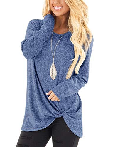 FeelinGirl Camisetas Originales Mujer Asimetricas Cuello Redondo con Lazo Blusa Casual Azul Claro S