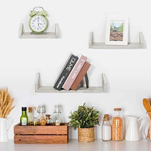 HAITRAL Wandregal,3er-Set schwimmende Regale an der Wand montiert,dekorative rustikale Holzregale für zu Hause, Duschhänger, Bücherregal Dekor für Badezimmer, Schlafzimmer, Wohnzimmer