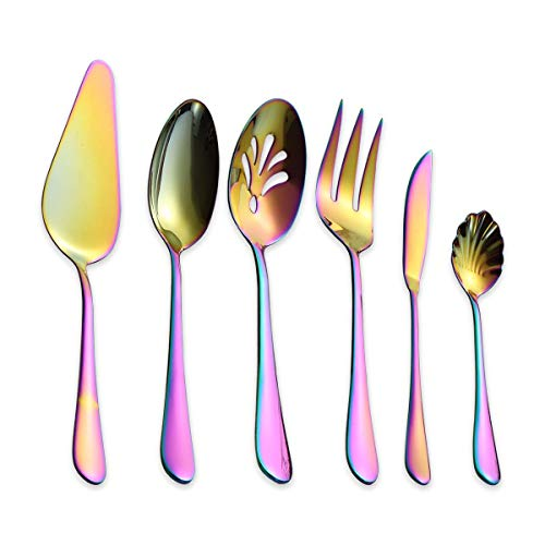 Berglander Stainless Steel Colorful Titanium Plated Flatware Serving Set 6 Pieces, 5 Serving Pieces of 45 Pieces Flatware With 1 Cake Server, Rainbow Serving Silverware Set (Shiny Colorful)