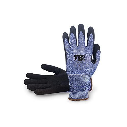 TB Guante de Trabajo TB 413RF TFLN | Guante para Trabajos que Producen Abrasión por Piezas Cortantes. Soporte HDPC, Fibra de Vidrio, Recubrimiento Nitrilo. Color Azul - 1 Par - Talla 8