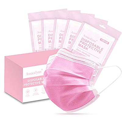 50pcs Boxed Face Mask,Breathable Disposable Mask with Elastic Earloop - Pink from SpecialDaytime