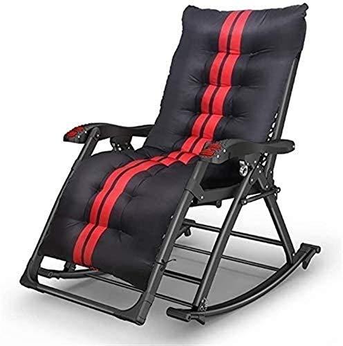 CWT - Sillón reclinable para exteriores, plegable, para playa, patio, piscina, patio, textil, almohadilla de algodón de hierro, color negro (color: B) (color: B)