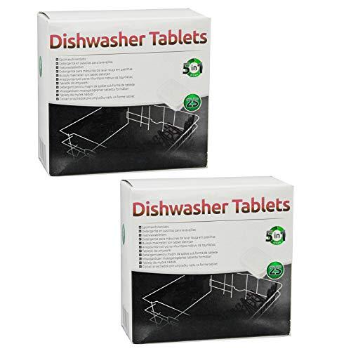 SPARES2GO 5 in 1 azione Disincrostante calcare Pastiglie per lavastoviglie (confezione da 50)