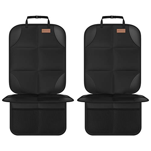 Car Seat Protector, Smart eLf 2Pack Seat Protector Protect Child Seats with Thickest Padding and Non-Slip Backing Mesh Pockets for Baby and Pet